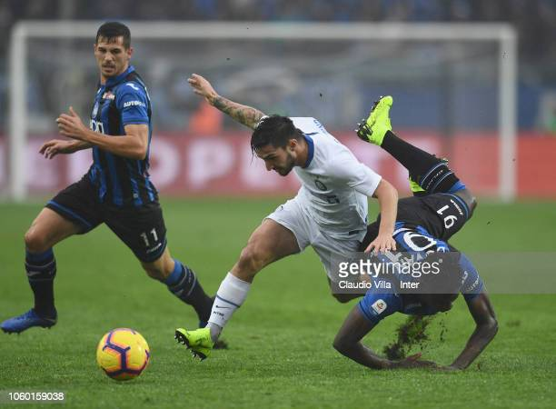 Matteo Politano of FC Internazionale in action during the Serie A match between Atalanta BC and FC Internazionale at Stadio Atleti Azzurri d'Italia...