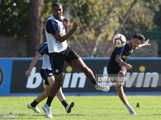 Matteo Politano of FC Internazionale kicks a ball during the FC Internazionale training session at the club's training ground Suning Training Center...
