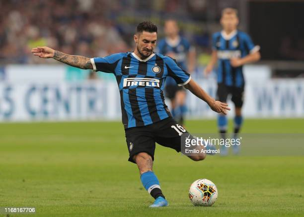 Matteo Politano of FC Internazionale kicks the ball and misses a chance to score during the Serie A match between FC Internazionale and Udinese...