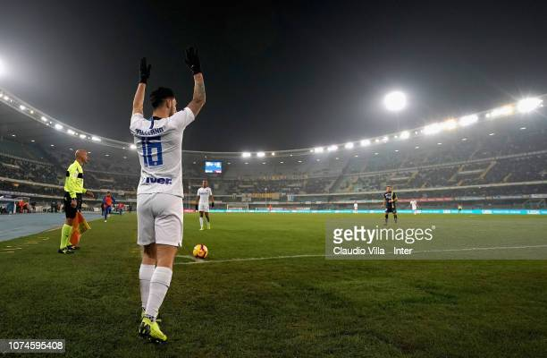 Matteo Politano of FC Internazionale takes a penalty kick during the Serie A match between Chievo Verona and FC Internazionale at Stadio Marc'Antonio...