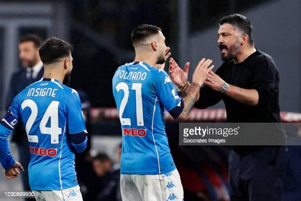 Matteo Politano of Napoli Celebrates 2-0 with coach Gennaro Gattuso of Napoli , Lorenzo Insigne of Napoli during the Italian Serie A match between...