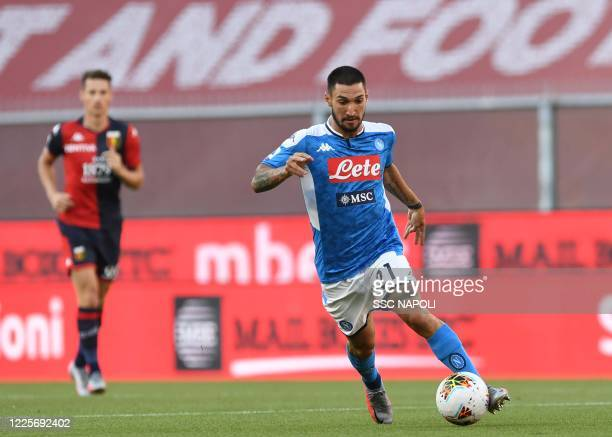 Matteo Politano of Napoli during the Serie A match between Genoa CFC and SSC Napoli at Stadio Luigi Ferraris on July 8 2020 in Genoa Italy