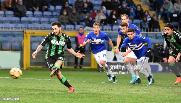 Matteo Politano of Sassuolo takes a penalty kick which is saved by goalkeeper Emiliano Viviano of Sampdoria during the Serie A match between UC...