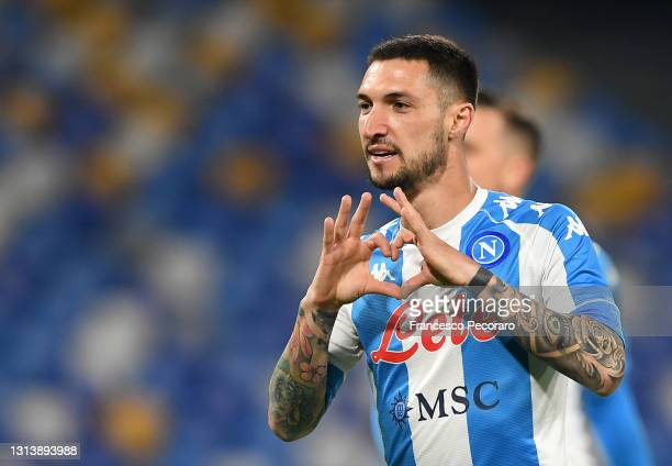 Matteo Politano of SSC Napoli celebrates after scoring their sides second goal during the Serie A match between SSC Napoli and SS Lazio at Stadio...