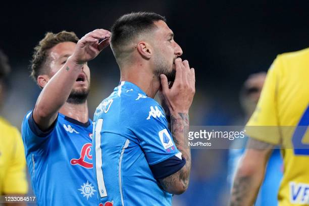 Matteo Politano of SSC Napoli looks dejected after missing the UEFA Champions League qualification during the Serie A match between SSC Napoli and...