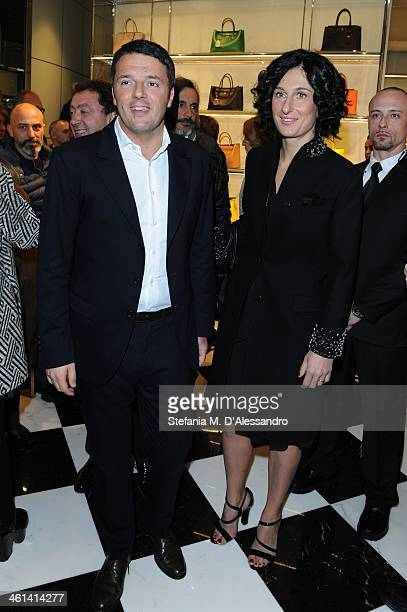 Matteo Renzi and Agnese Landini attend opening Prada store in Florence on January 8, 2014 in Florence, Italy.