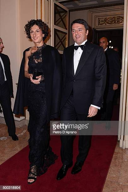 Matteo Renzi and Agnese Landini attend Teatro Alla Scala 2015/16 Season Opening on December 7, 2015 in Milan, Italy.