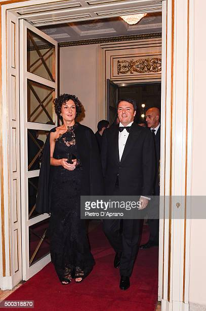 Matteo Renzi and Agnese Landini attends Teatro Alla Scala 2015/16 Season Opening on December 7, 2015 in Milan, Italy.