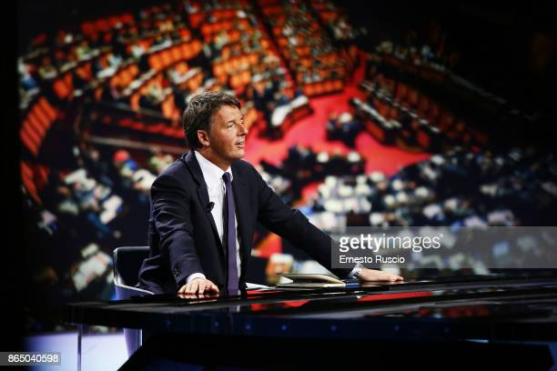 Matteo Renzi attends at 'In 1/2h In piu' TV show at Rai on October 22 2017 in Rome Italy