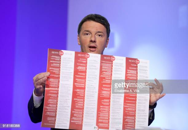 Matteo Renzi attends 'L'Aria Che Tira' TV show on February 14 2018 in Rome Italy The secretary of the Democratic Party shows his electoral programme...