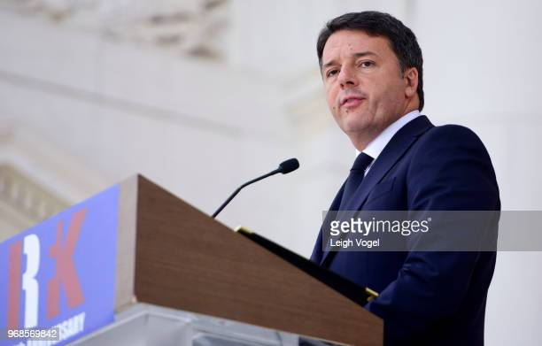 Matteo Renzi, former Prime Minister of Italy, speaks during a Remembrance and Celebration of the Life & Enduring Legacy of Robert F. Kennedy at...