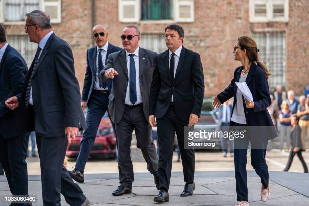 Matteo Renzi Italy's former prime minister second right arrives for a memorial service for former Fiat Chrysler Automobiles NV chief executive...