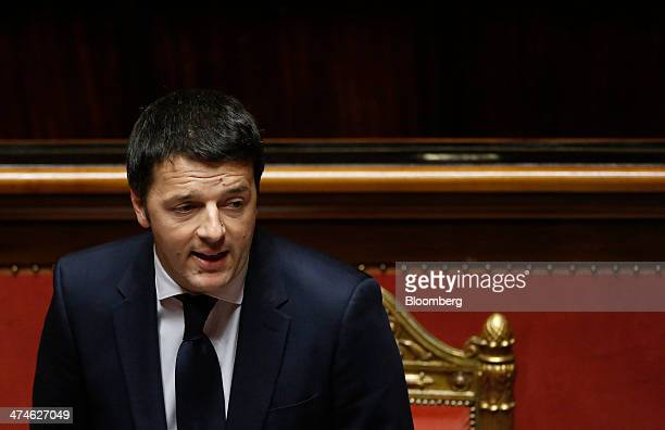 Matteo Renzi Italy's prime minister speaks during a parliamentary session inside the Senate the upper house of parliament in Rome Italy on Monday Feb...