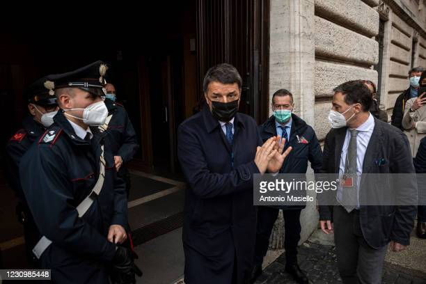 Matteo Renzi leader of Italia Viva leaves the Chamber of Deputies following a meeting with the designated Prime Minister Mario Draghi on formation of...