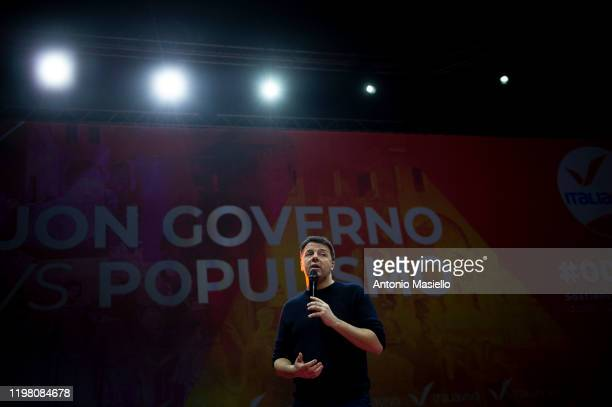 Matteo Renzi leader of Italia Viva political party delivers his speech during the national meeting of Italia Viva at Cinecittà studios on February 2...