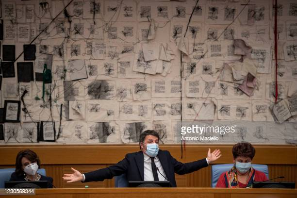 Matteo Renzi, leader of Italia Viva political party holds a press conference at Italian Chamber of Deputies to announce the resignation of the...