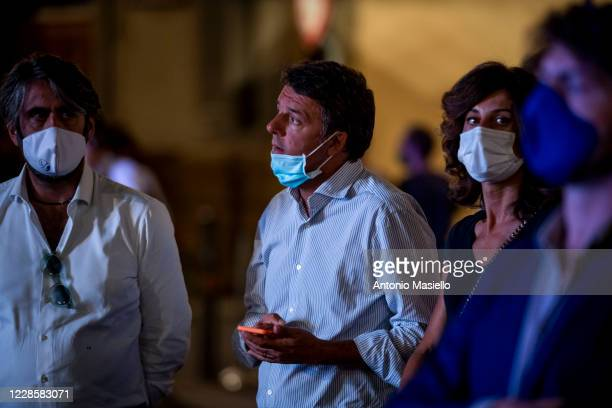 Matteo Renzi leader of Italia Viva with his wife Agnese Landini attend the closure event of the left-wing regional election campaign on September 18,...