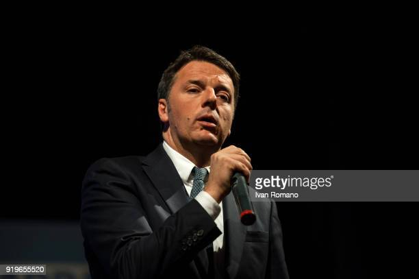 Matteo Renzi leader of the Democratic Party candidate at the next Italian Political Elections attends a rally at the Sannazaro Theatre on February 17...