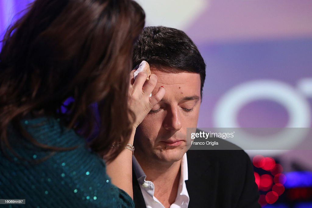 Matteo Renzi, mayor of Florence and Democratic Party (PD) member, at the make-up during 'Otto e Mezzo' Italian TV Show at La7 studios on February 4, 2013 in Rome, Italy. The 2012 Italian centre-left primary election determined the leader of the coalition. Common Good, who will stand as common candidate for the office of Prime Minister in the subsequent general election, which will be held on February 24, 2013. It was won with 61% of the votes by Pier Luigi Bersani, who defeated the 37-years old mayor of Florence Matteo Renzi in the run-off.