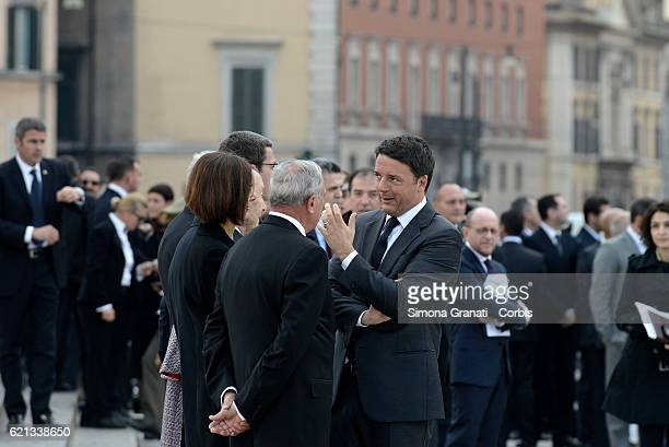 Matteo Renzi Pietro Grasso and Laura Boldrini await the arrival of the President of the Republic for the celebration of National Unity Day and Armed...