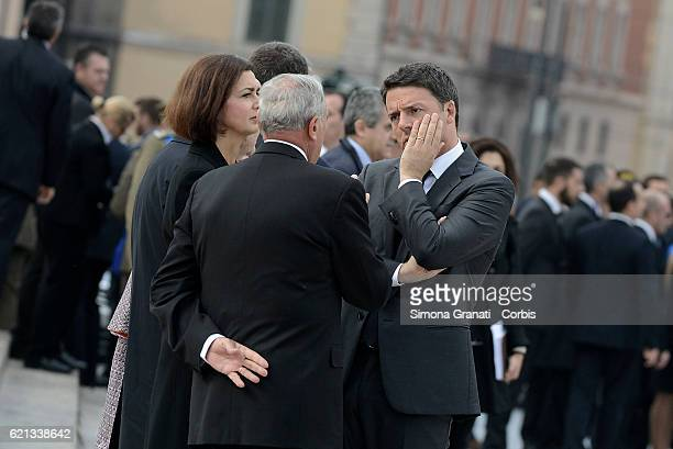 ROME ITALY NOVEMBER 04 Matteo Renzi Pietro Grasso and Laura Boldrini during the celebration of National Unity Day and Armed Forceson November 4 2016...