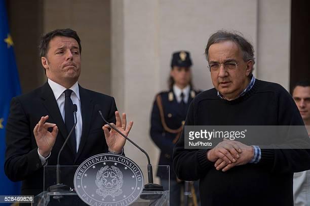 Matteo Renzi receives John Elkann and Sergio Marchionne president and CEO of FCA group for presentation of new Alfa Romeo Giulia at the Palazzo Chigi...