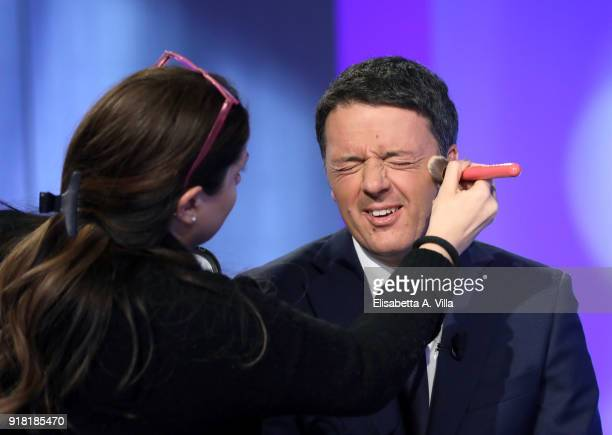 Matteo Renzi receives make up before 'L'Aria Che Tira' TV show on February 14 2018 in Rome Italy