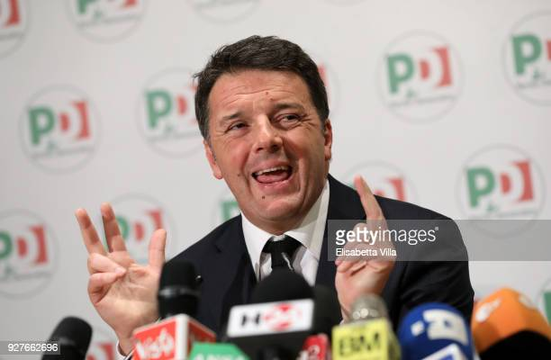 Matteo Renzi resigns as Leader of the Democratic Party during a press conference at the PD headquarters on March 5 2018 in Rome Italy Provisional...