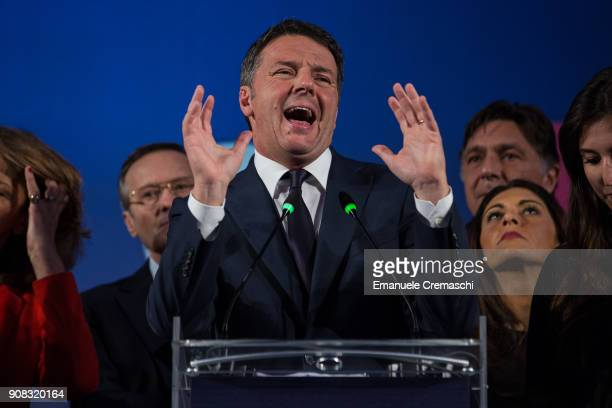 Matteo Renzi Secretary of Partito Democratico and former Italian Prime Minister attends a political meeting of the party on January 20 2018 in Milan...