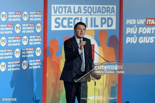 Matteo Renzi secretary of the Democratic Party speaks during the election meeting with the voters of the Democratic Party at the Adriano Cinema in...