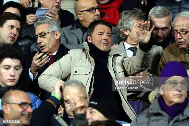 Matteo Renzi secretary of the Italian Democratic party in the stands to watch the match during the serie A match between ACF Fiorentina and Juventus...