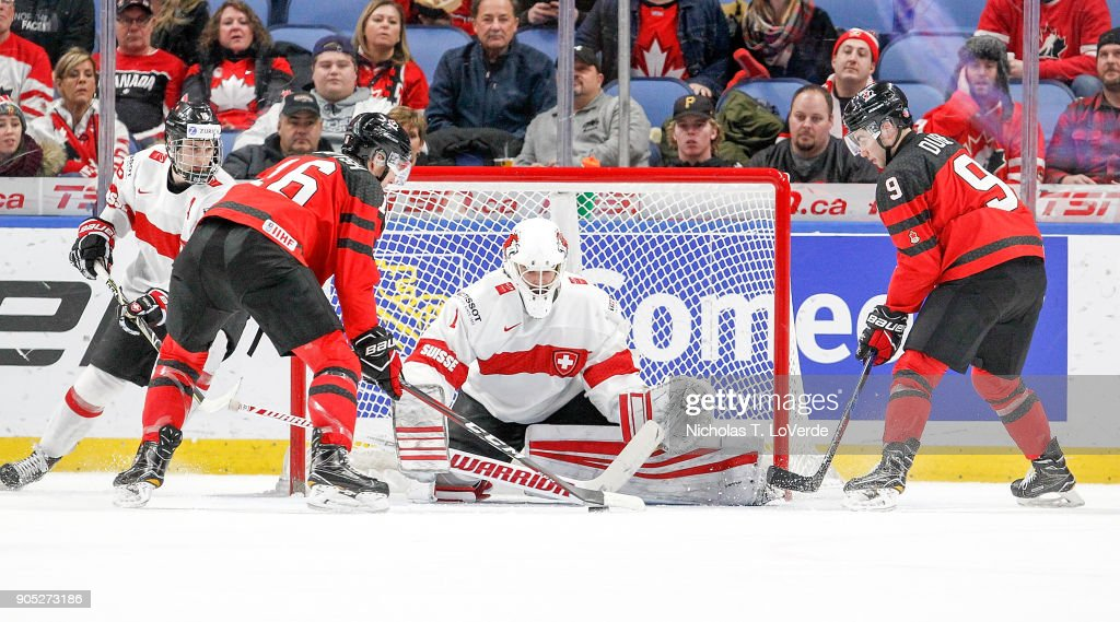 Matteo Ritz #1 of Switzerland defends his net against Taylor Raddysh #16 and Dillon Dubé #9 of Canada during the second period of play in the Quarterfinal IIHF World Junior Championship game at the KeyBank Center on January 2, 2018 in Buffalo, New York.