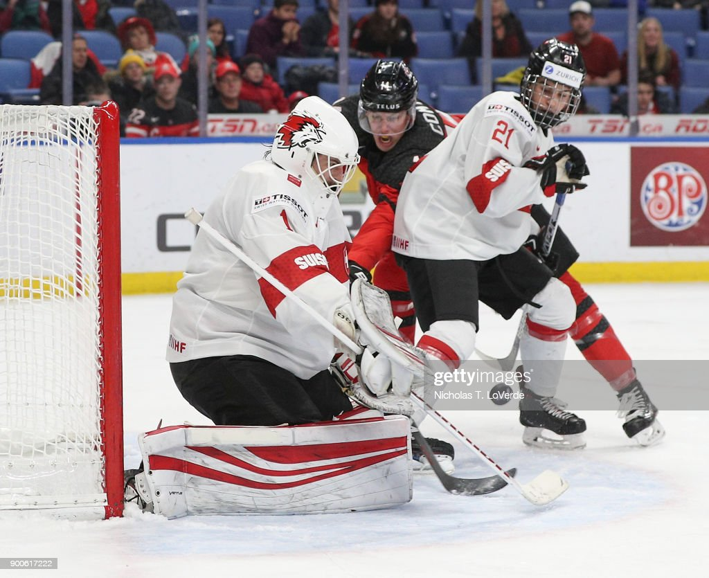 Matteo Ritz #1 of Switzerland makes a save against team Canada during the third period of play in the Quarterfinal IIHF World Junior Championship game at the KeyBank Center on January 2, 2018 in Buffalo, New York.