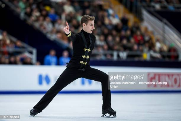 Matteo Rizzo of Italy competes in the Men's Free Skating during day three of the European Figure Skating Championships at Megasport Arena on January...