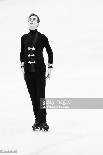 Matteo Rizzo of Italy competes in the Men's Free Skating during day four of the World Figure Skating Championships at Mediolanum Forum on March 24...
