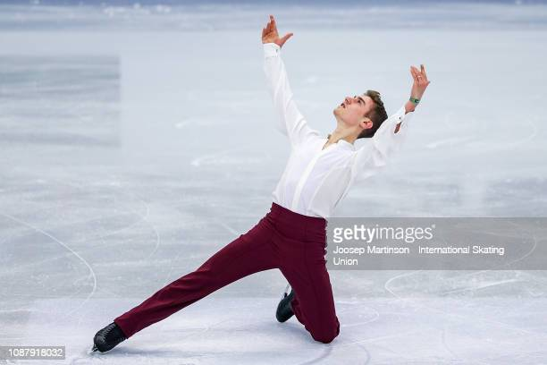 Matteo Rizzo of Italy competes in the Men's Short Program during day two of the ISU European Figure Skating Championships at Minsk Arena on January...