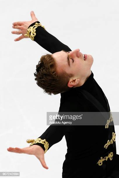 Matteo Rizzo of Italy performs in the Men Free Skating during the ISU European Figure Skating Championships 2018 at the Megasport Arena in Moscow...