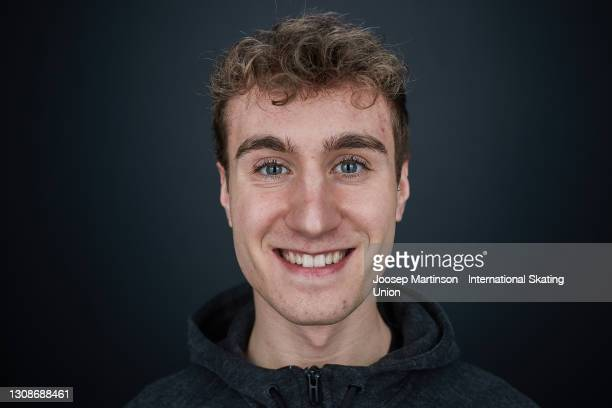 Matteo Rizzo of Italy poses for a photo ahead of the ISU World Figure Skating Championships at Ericsson Globe on March 23, 2021 in Stockholm, Sweden.