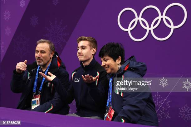 Matteo Rizzo of Italy reacts after competing during the Men's Single Skating Short Program at Gangneung Ice Arena on February 16 2018 in Gangneung...