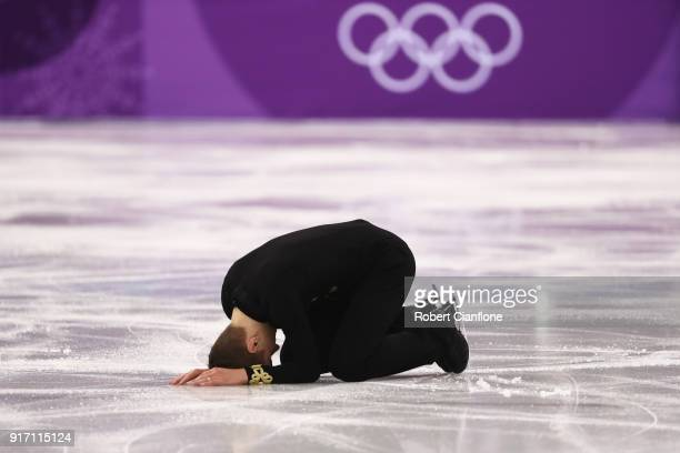Matteo Rizzo of Italy reacts after skating during the Men's Single Skating section of the Team Event on day three of the PyeongChang 2018 Winter...