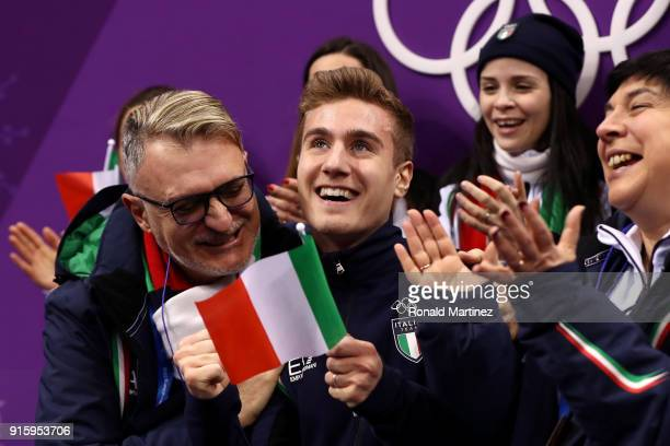 Matteo Rizzo of Italy reacts after skating in the Figure Skating Team Event Men's Single Skating Short Program during the PyeongChang 2018 Winter...