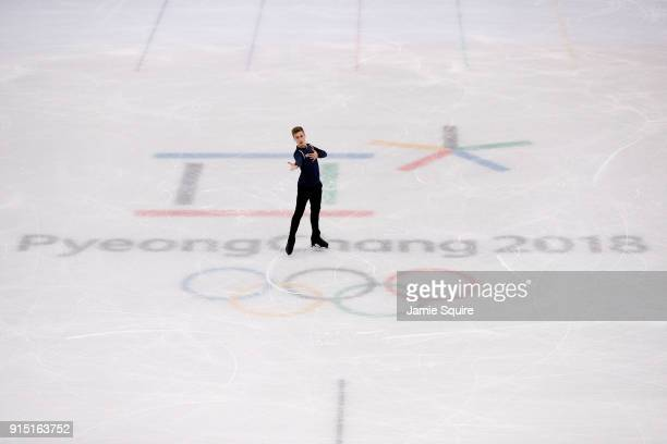 Matteo Rizzo of Italy trains during Figure Skating practice ahead of the PyeongChang 2018 Winter Olympic Games at Gangneung Ice Arena on February 7...