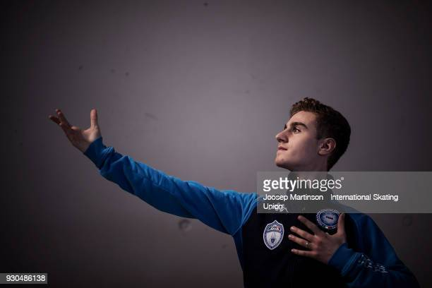 Matteo Rizzo of Italy warms up for the Gala Exhibition during the World Junior Figure Skating Championships at Arena Armeec on March 11 2018 in Sofia...