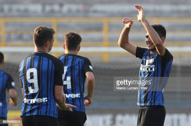 Matteo Rover of FC Internazionale celebrates his goal during the UEFA Youth League Domestic Champions Path match between FC Internazionale and...