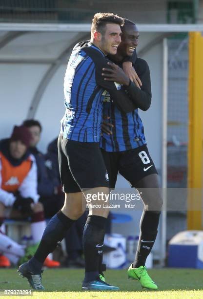 Matteo Rover of FC Internazionale celebrates his goal with his teammate Stephen Danso during the Serie A Primavera match between FC Internazionale...