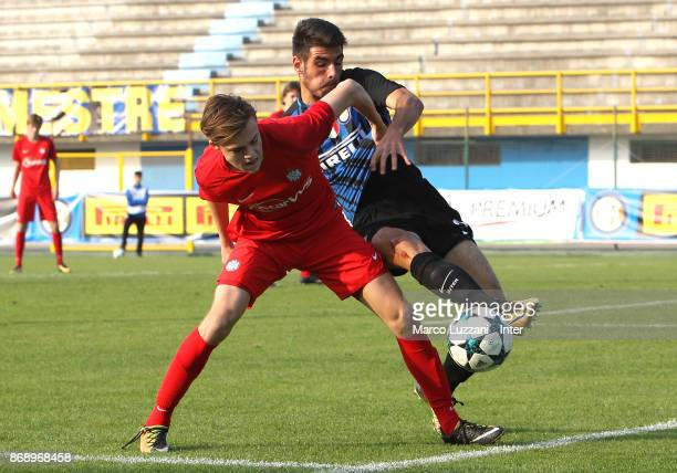 Matteo Rover of FC Internazionale competes for the ball during the UEFA Youth League Domestic Champions Path match between FC Internazionale and...