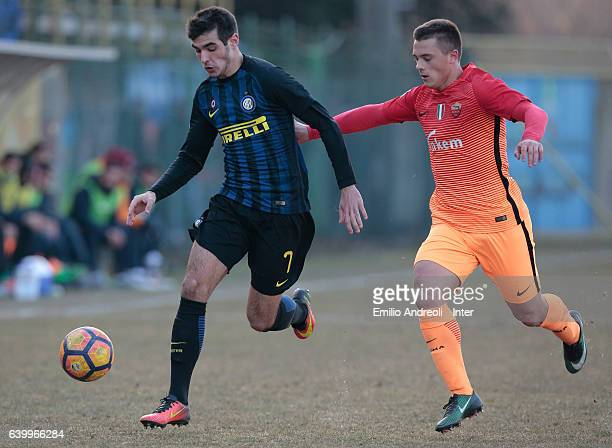 Matteo Rover of FC Internazionale competes for the ball with Silvio Anocic of AS Roma during the Primavera Tim Cup juvenile match between FC...
