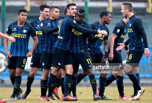 Matteo Rover of FC Internazionale Milano celebrates with his teammates after scoring the opening goal during the Primavera Tim juvenile match between...