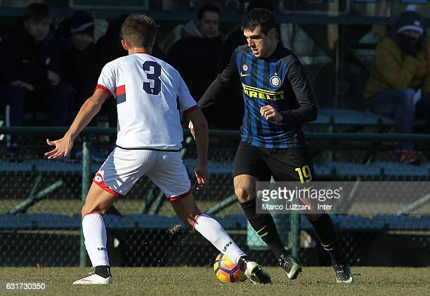 Matteo Rover of FC Internazionale Milano competes for the ball during the Primavera Tim juvenile match between FC Internazionale and Genoa CFC at...