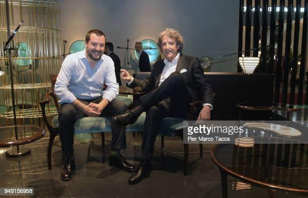 Matteo Salivini Lega Nord leader visit the Salone Del Mobile during Milan Design Week at Fiera Milano Rho on April 20 2018 in Milan Italy